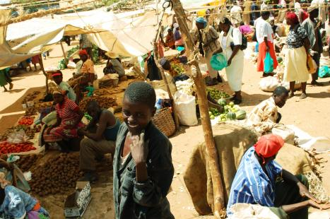 Tharaka people buying and selling in the market